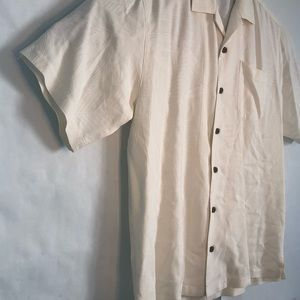 Tommy Bahama 100% silk button up cream shirt large